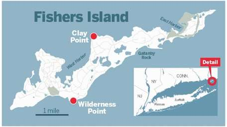 A map of Fishers Island. A tornado touched