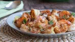 Lemony shrimp sautéed with oregano and garlic.