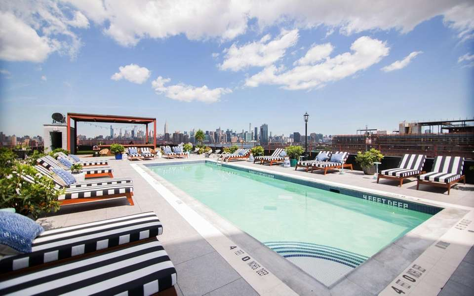 The rooftop pool at the Williamsburg Hotel offers