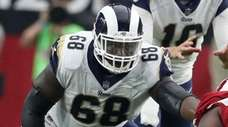 Guard Jamon Brown, shown here with the Rams
