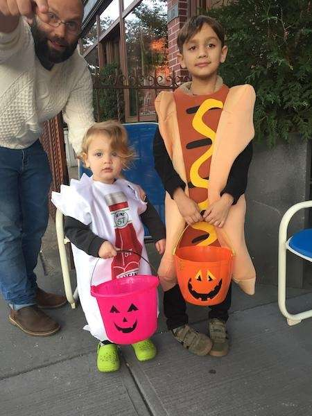 Hotdog & Ketchup trick or treating in Brooklyn