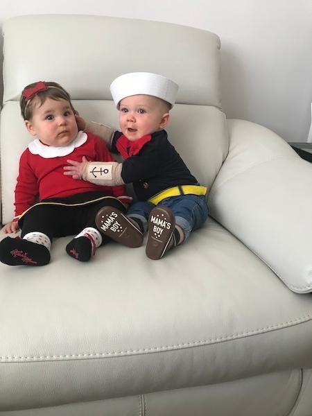Olive Oyl (Aubrey) 8 months and Popeye (Liam)