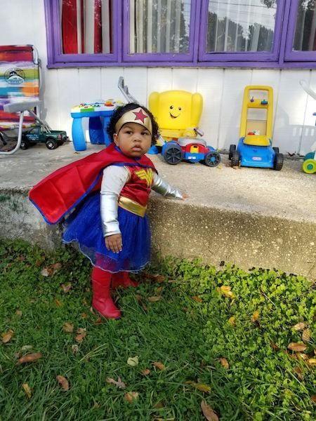 Vanity Paris as Wonder Woman on Halloween.