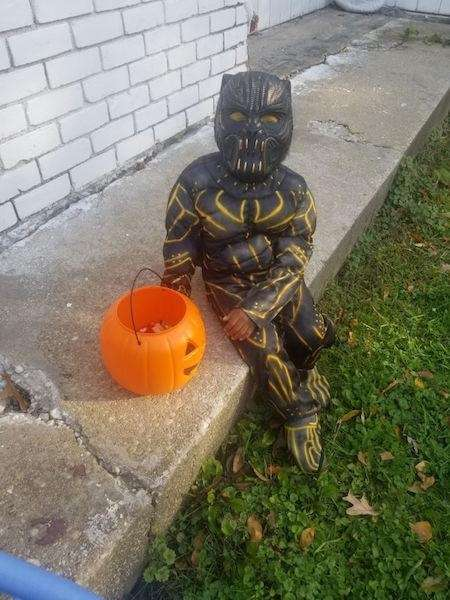 Royale as Black Panther on Halloween.