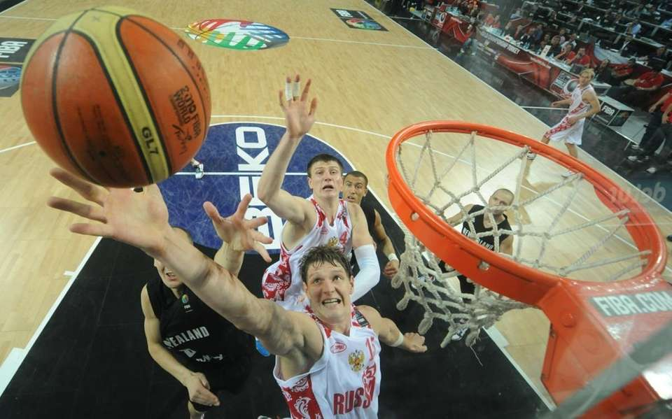 Russia's Timofey Mozgov puts up a shot during
