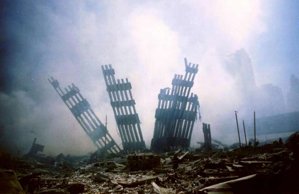 The remains of the World Trade Center stands