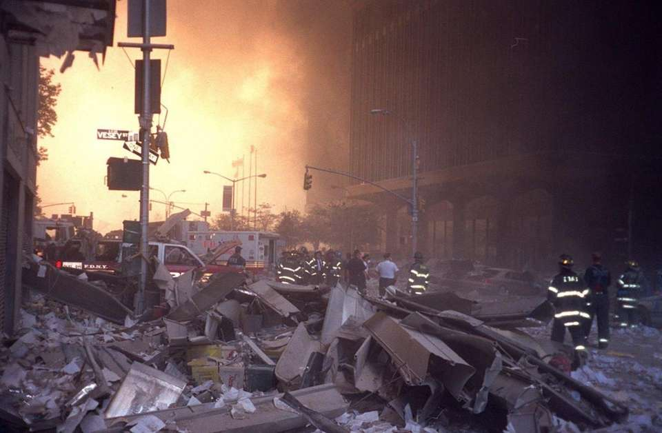 A street scene aftermath of the World Center