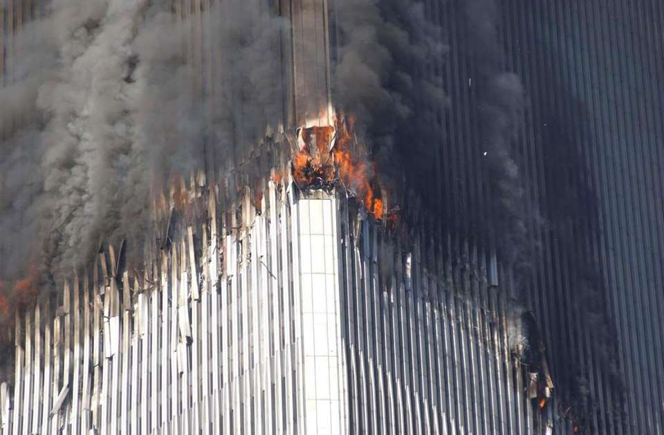 The north tower of the World Trade Center