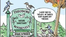 Matt Bodkin cartoon about upgrades at a nature