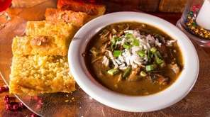 Gumbo and cornbread at The Bayou restaurant in