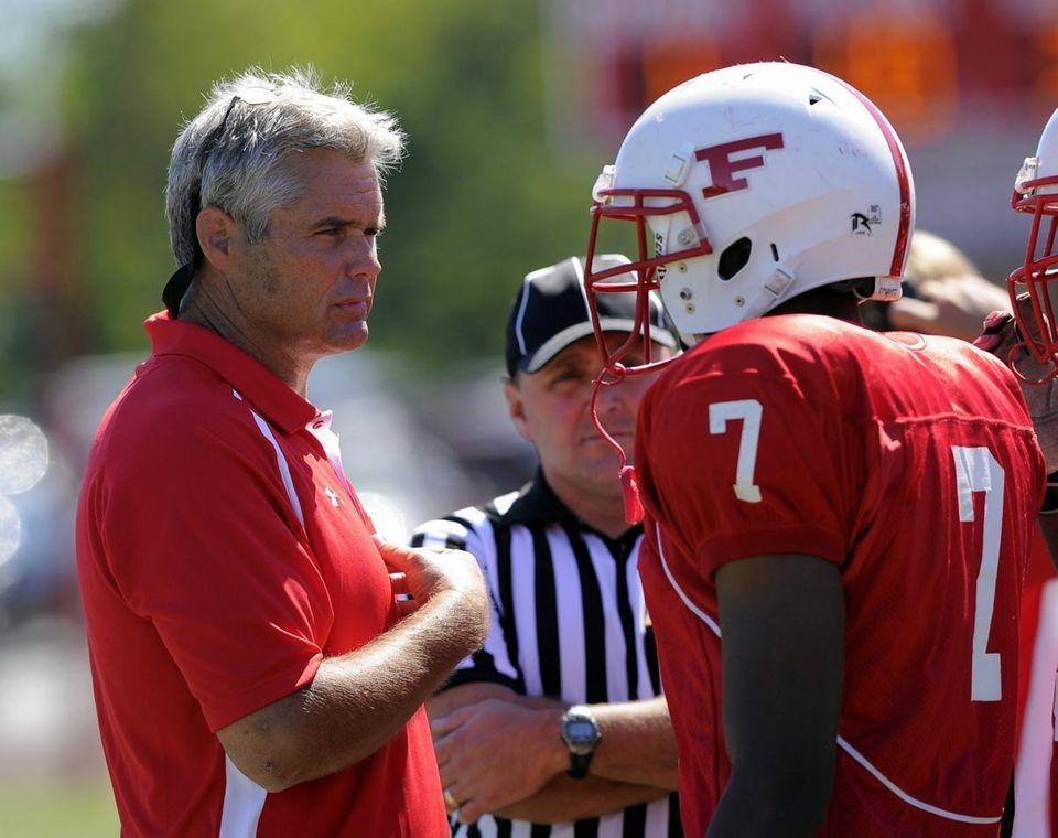 Freeport Head Coach Russ Cellan speaks to Jeff