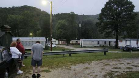 Family and friends gather Saturday at the trailer