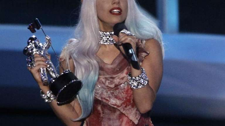 Lady Gaga accepts the award for video of