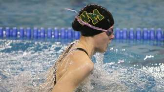 Ward Melville's Hope Farrell swims the Breaststroke part