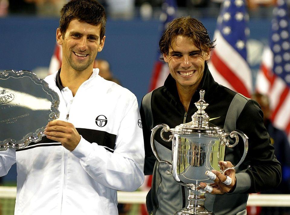 Rafael Nadal of Spain and Novak Djokovic of
