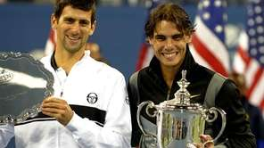 Rafael Nadal of Spain and Novak Djokovic of