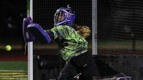 Sachem East goalkeeper Marissa Curves makes the save