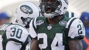New York Jets cornerback Darrelle Revis (24) reacts