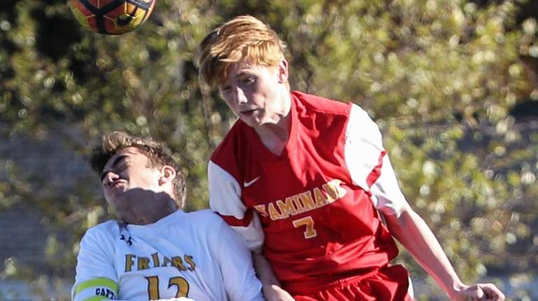 Conor McMahon (right) of Chaminade goes for the