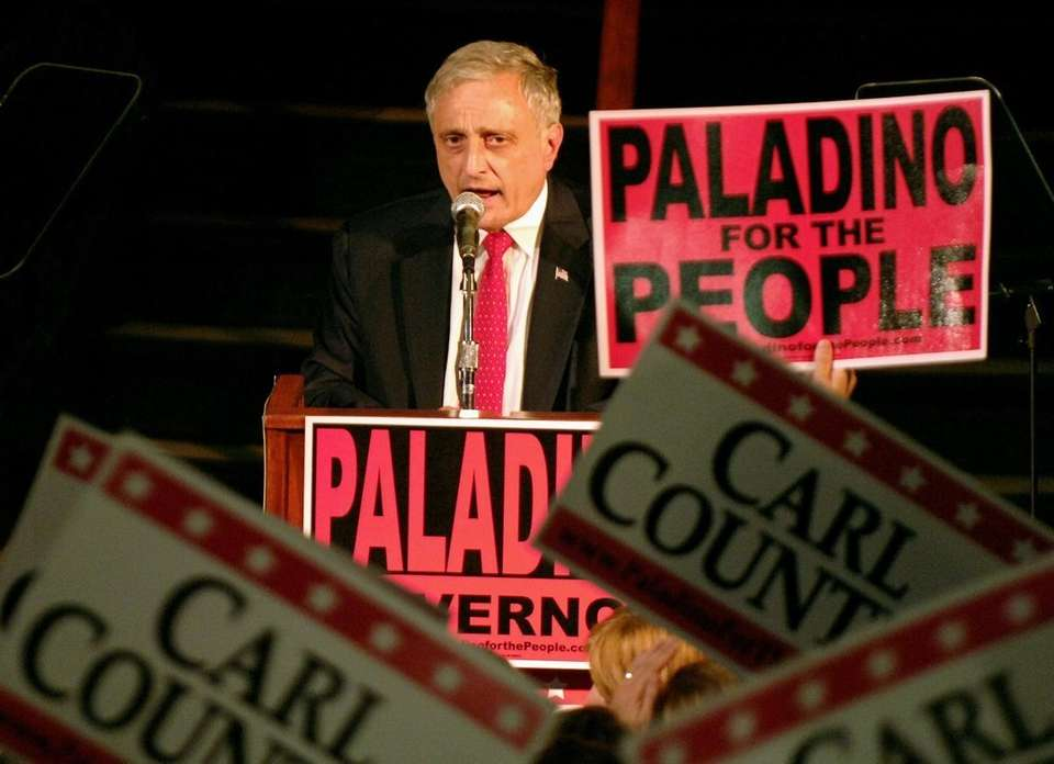 Carl Paladino speaks on stage after winning the