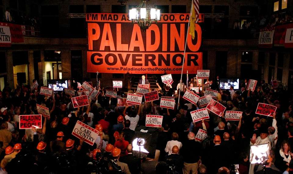 Carl Paladino delivers a victory speech after winning