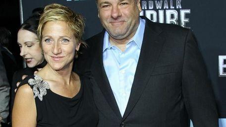 Former Sopranos costars Edie Falco and James Gandolfini
