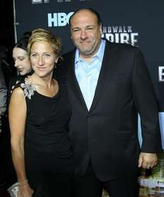 Former Sopranos costars Edie Falco and James Gandolfini