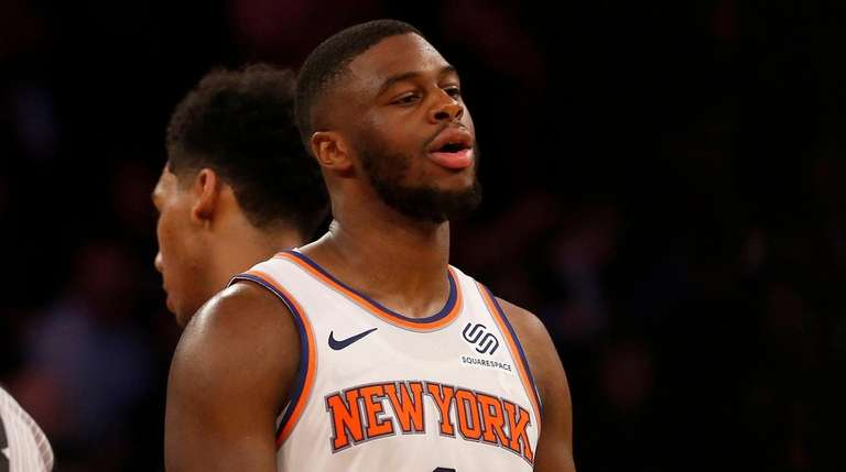 Knicks guard Emmanuel Mudiay looks on after a