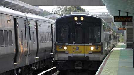 A file photo of a train arriving at