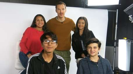Actor Benedict Cumberbatch, top center, who stars in