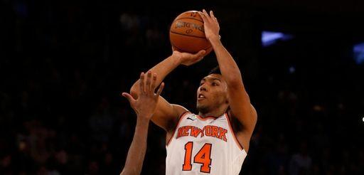 The Knicks' Allonzo Trier attempts a game-winning shot