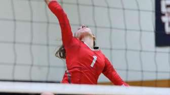 Connetquot's Julia Patsos returns the volley in a