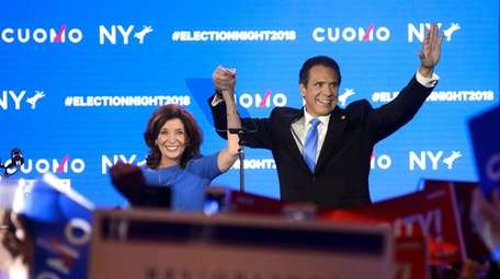 Gov. Andrew M. Cuomo celebrates his win Tuesday