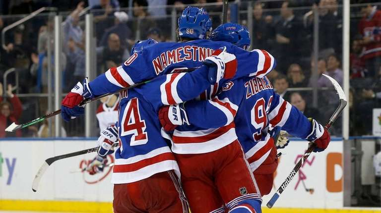 The Rangers' Mika Zibanejad celebrates his third-period goal