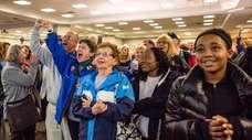Democratic voters cheer as election results come in