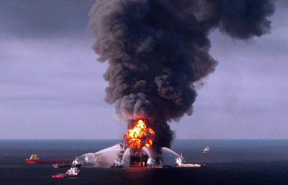 Fire boat response crews battle the blazing remnants