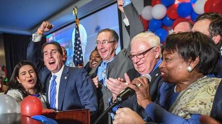 Democrats Anna Kaplan, Todd Kaminsky, James Gaughran, John