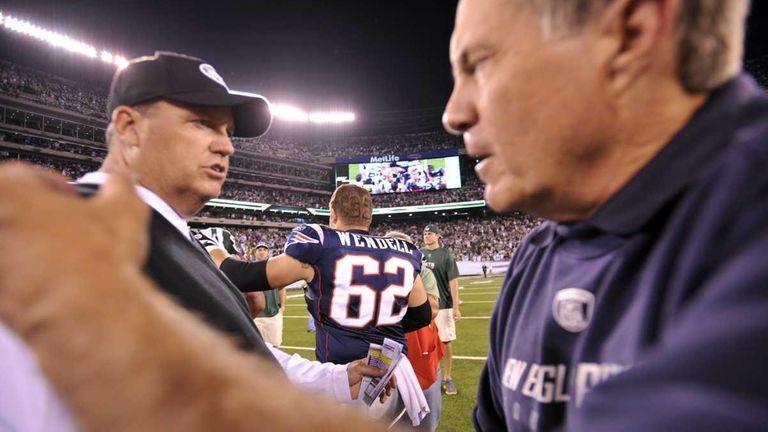 Jets head coach Rex Ryan and Patriots head