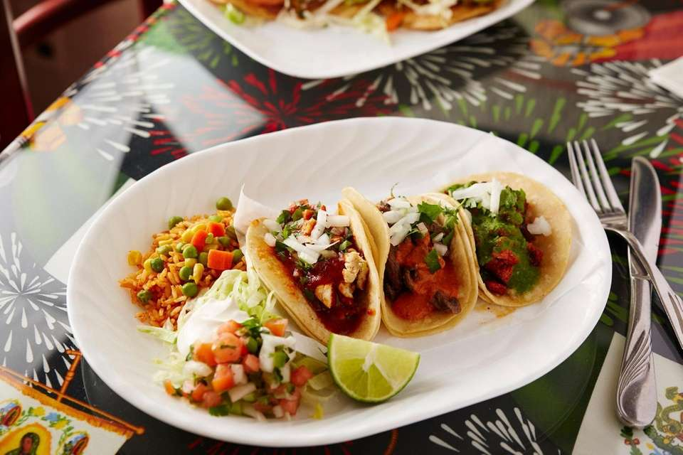 The Mexico City tacos with chicken, pork, and