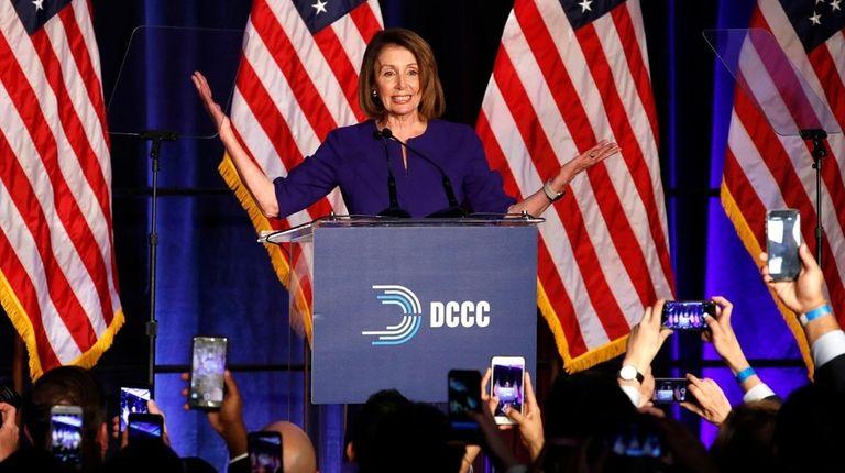 House Minority Leader Nancy Pelosi of California speaks