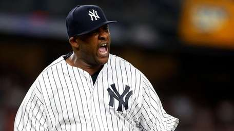CC Sabathia of the Yankees reacts against the