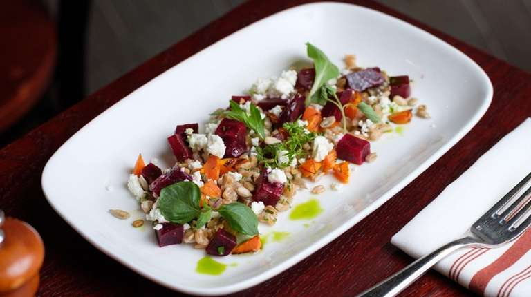 Beet salad with faro, roasted beets and carrots,