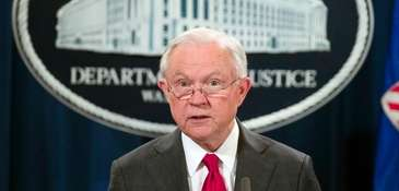 Attorney General Jeff Sessions speaks at a news
