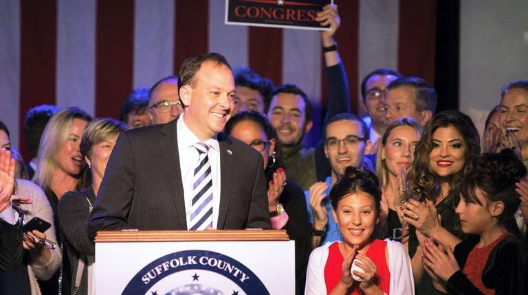 Rep. Lee Zeldin (R-Shirley) celebrates his victory Tuesday