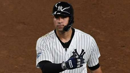 Yankees catcher Gary Sanchez reacts to flying out