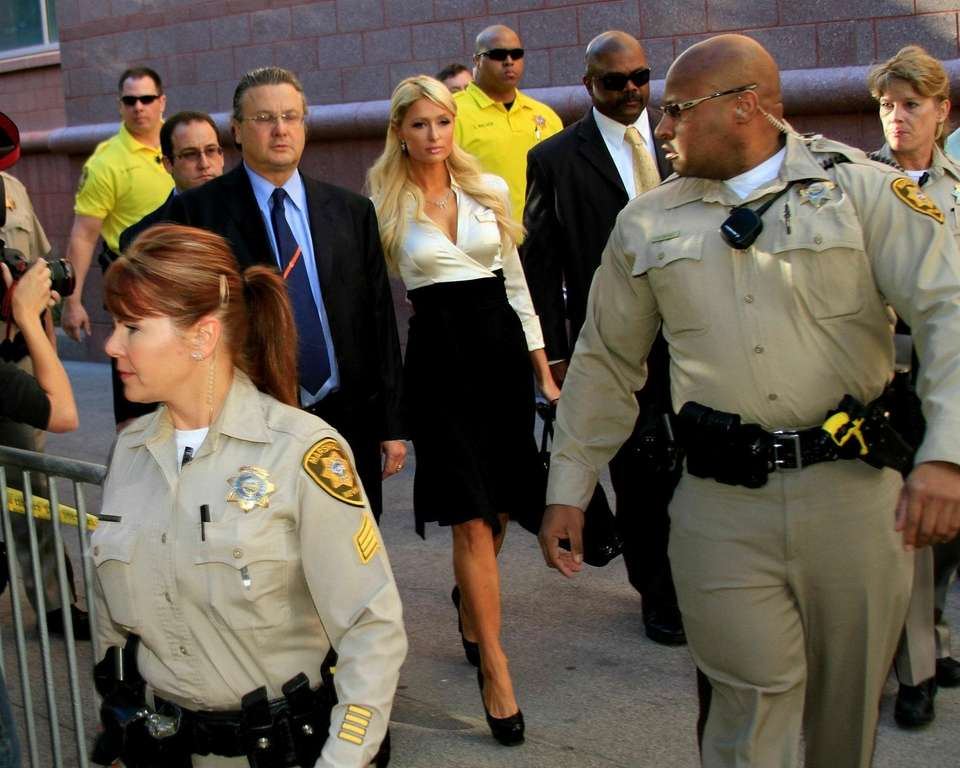 Paris Hilton arrives at court on Sept. 20,