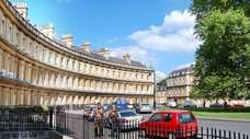 Strolling along the Circus in Bath, England. These