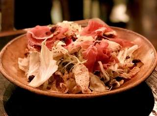 Autumn chicory with prosciutto and hazelnuts is among