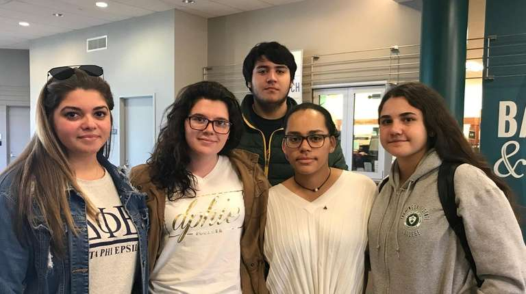 Farmingdale State College students (l-r) Alexa Kalfa, 23,