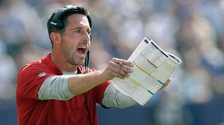 49ers head coach Kyle Shanahan gestures during the